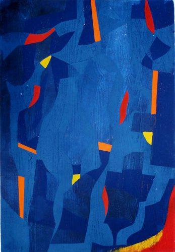 Blau bekommt Farbe, Farbholzschnitt
