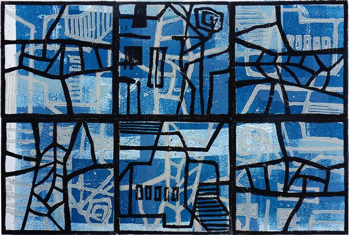 Blaues Fenster, Farbholzschnitt