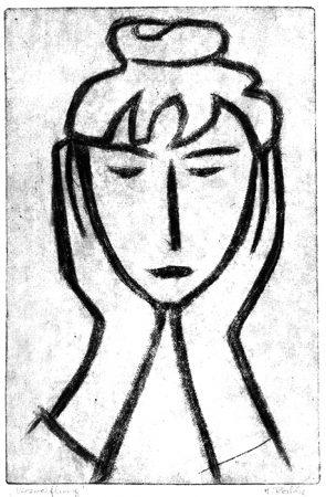 Camille Claudel – Verzweiflung, Farbholzschnitt