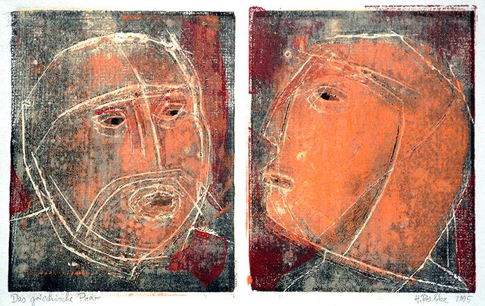 Das griechische Paar, Farbholzschnitt