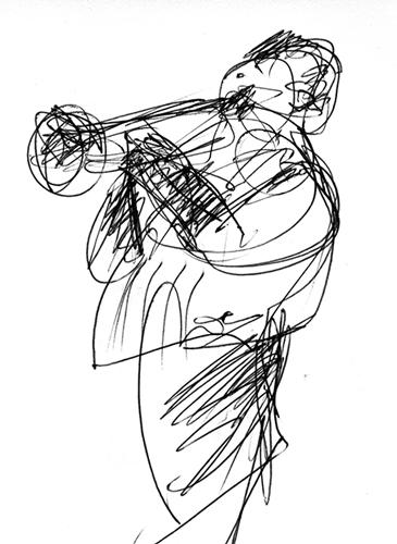 Trompete, Radierung