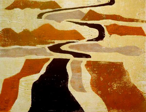 Libysche Wüste, Farbholzschnitt