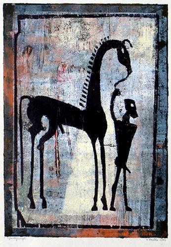 Pferdejunge, Farbholzschnitt