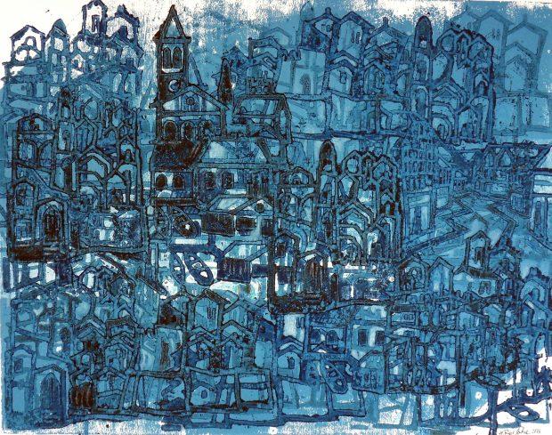 Blue City, Farbholzschnitt